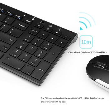B. O. W Subțire de Metal Multimedia Optic Wireless Keyboard și Moue (Design Silent) 2-in-1 Combo-uri pentru Laptop-uri, Desktop-uri PC