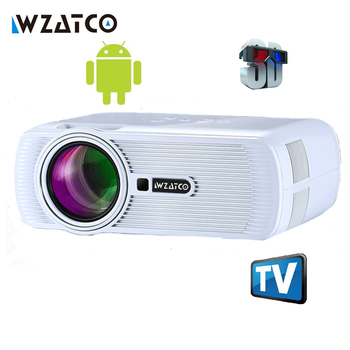 WZATCO 1800lm Portabil Pico LED mini HDMI Joc Video TV Android 4.4 WIFI Proiector de Buzunar Home Cinema Projetor Proyector Beamer