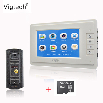 Vigtech 7` LCD Ecran Color ușă video de Înregistrare de telefon interfon sistem de coajă de Metal HD MiNi Camera 8GB TF Card TRANSPORT GRATUIT