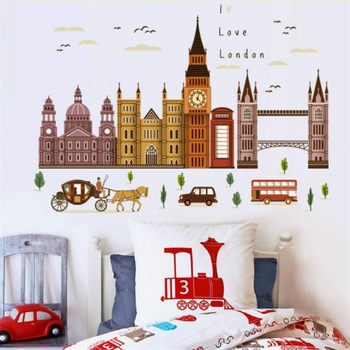 Mare Londra City Tower Building Decor Acasă La Londra Autocolant Perete Big Ben Punct De Reper Auto Adeziv Vinil Murală Decal Postere