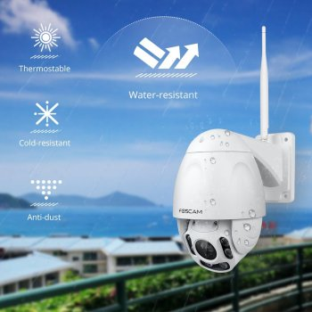 Foscam FI9928P 2.0 MP 1080P Pan Tilt Zoom 4X Wireless de Exterior PTZ IP Camera