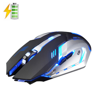 X7 2.4 GHz Wireless Reîncărcabilă LED Backlit Mouse USB Optic cu 6 Butoane Ergonomice Silent Mouse de Gaming Gamer 1600DPI PC Laptop