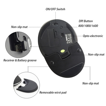 Delux M618 Plus Ergonomic Wireless Verticale Mouse-ul 6 Buton 2.4 g Soareci 1600 DPI Computer mouse USB Optic Mause pentru Laptop PC